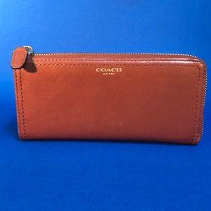 Coach Legacy Slim Leather Zip Wallet - Cognac